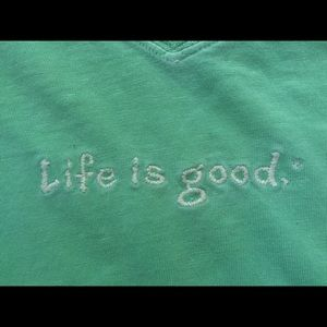Life is Good green old fashioned t shirt